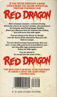 Red Dragon, (Mar 1987, Thomas Harris, publ. Bantam Books, 0-553-26485-0, $4.50, 354pp, pb) back cover